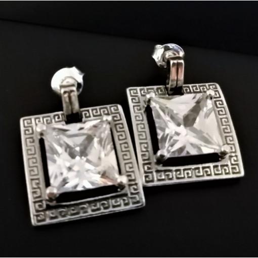 Cercei argint cu surub -zircon E2959