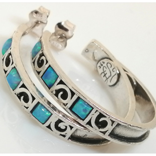 Cercei argint opal E1698