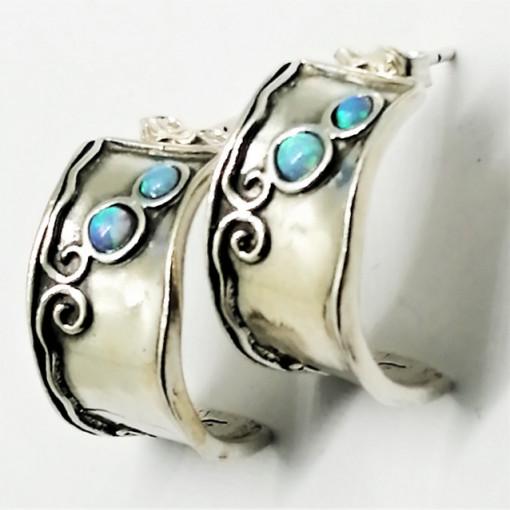 Cercei argint opal E1946