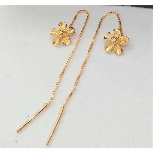 Cercei argint placat cu aur , pe lob ,cu tija si lant -E7150-2