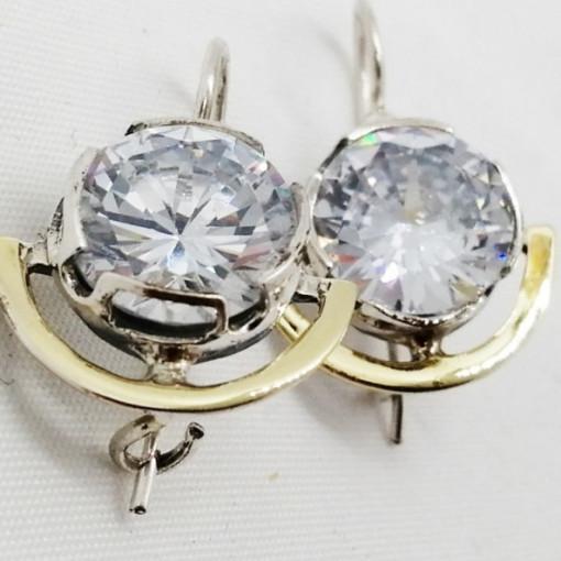 Cercei argint si aur 14k -200733 zircon
