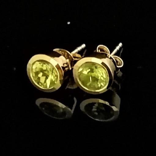 Cercei delicati-SIMONA- argint placat cu aur- VE015015 peridot