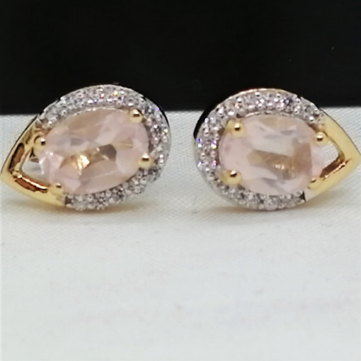 Cercei ELEONORE-argint placat cu aur - VE032670 cuart roz
