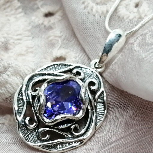 Colier argint lavander quartz E2146-1481