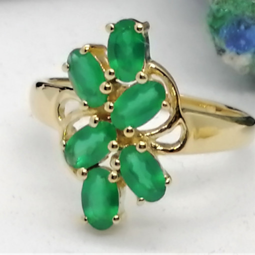 Inel ELIZA-argint placat si aur -onix verde VR016627