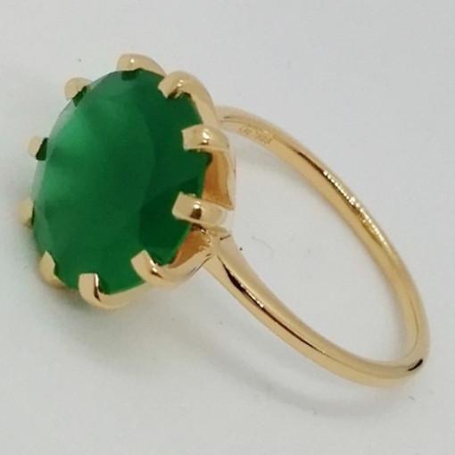 TROPEZ -Inel argint placat cu aur -onix verde-VR014712