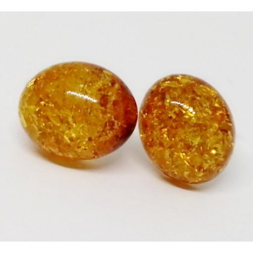 Cercei argint chihlimbar auriu E168