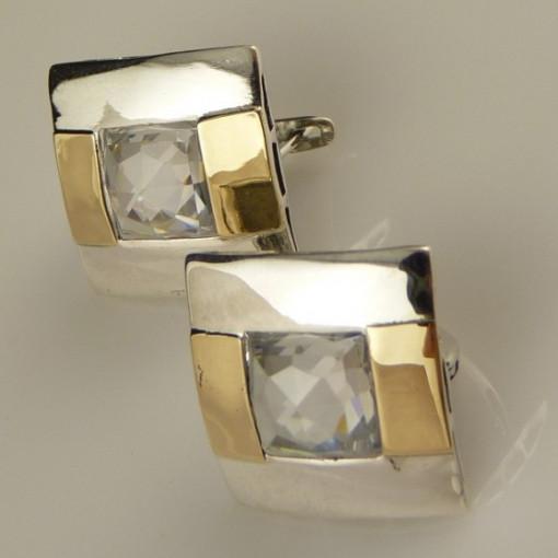 Cercei argint si aur 9 k -30126 zircon