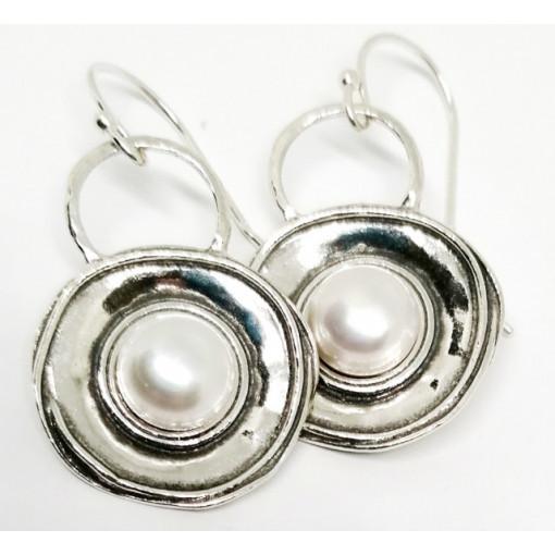 Cercei din argint cu perle E5699