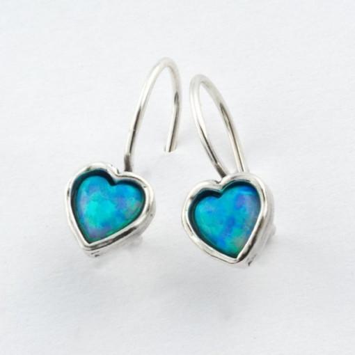Cercei din argint - inimioare - opal E118