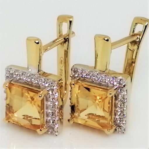 Cercei Suzane -argint placat cu aur si citrin