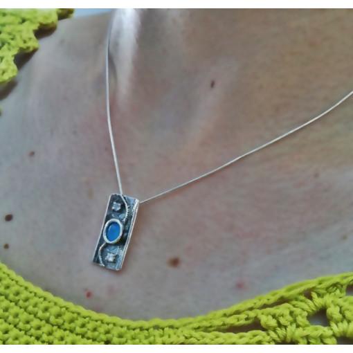 Colier argint blue ocean si zircon -A21070-1481