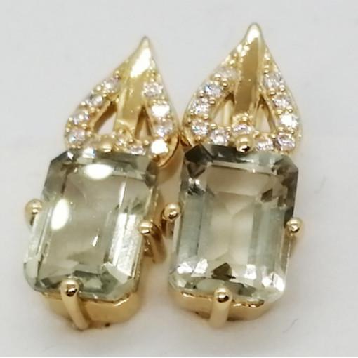 Cruella -Cercei argint placati cu aur galben -VE013917 ametist verde