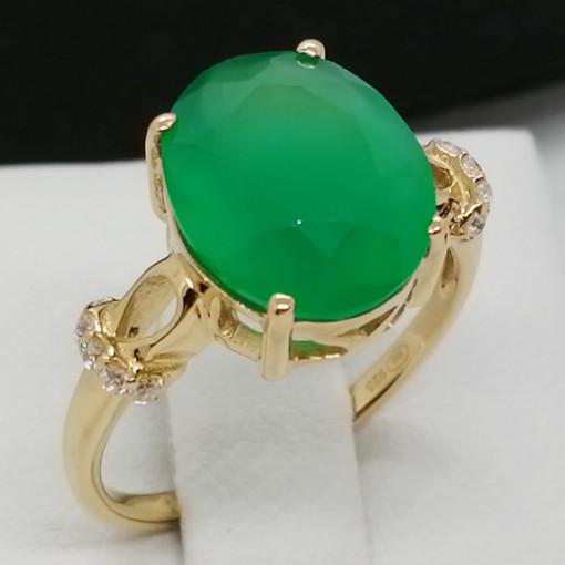 Inel Afrodita-argint placat si aur -onix verde VR014176