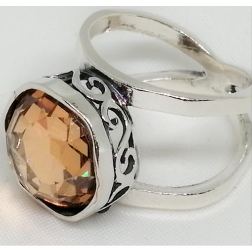Inel argint champagne quartz R4288