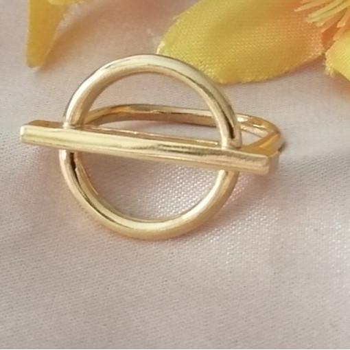 Inel CATANIA-forme geometrice-argint placat cu aur -ANJJ4801PLGIA