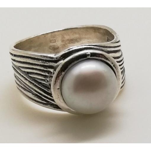 Inel din argint cu perla de cultura- R707