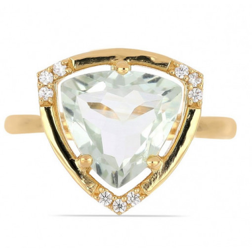 Inel Lille -argint placat cu aur - VR016161 ametist verde