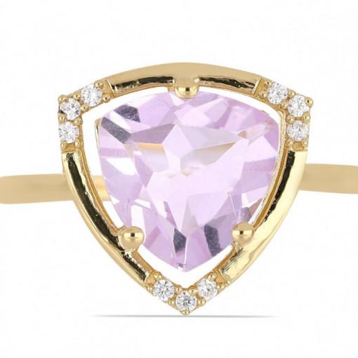 Inel Lille -argint placat cu aur - VR016161 pink ametist