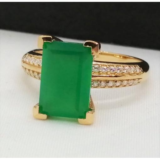 Inel Zoe -argint placat cu aur si onix verde- VR033234