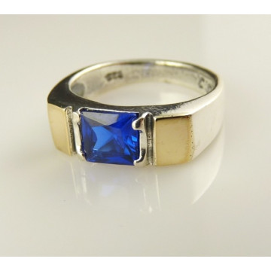 Inel argint si aur 9 k -10069 blue quartz