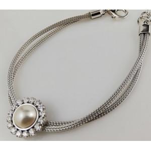 Bratara argint -perla de cultura si zirconii -B1602509