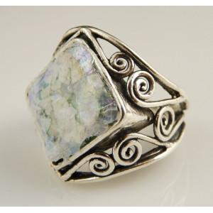 Inel argint cu sticla romana- R8597