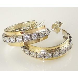 Cercei argint si aur 14k cu zircon E2593