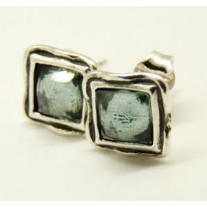 Cercei din argint cu surub blue topaz E4369A
