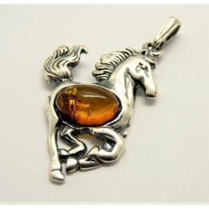 Pandantiv argint chihlimbar -Căluț- P2784