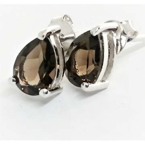 Cercei delicati din argint cu surub VE015257-cuart fumuriu
