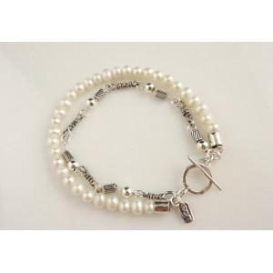 Bratara dubla perle si tuburi argint B1099