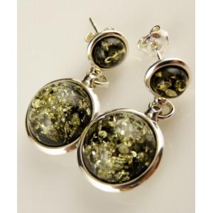 Cercei argint chihlimbar verde E2307