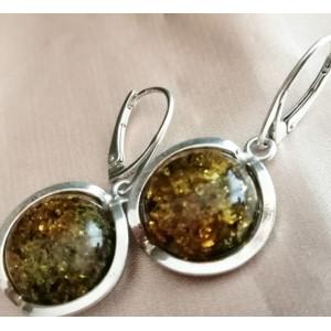 Cercei argint chihlimbar verde E2630-A
