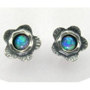 Cercei argint cu surub -floare si opal E2877C
