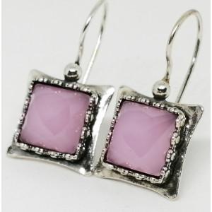 Cercei argint cuart roz E3380