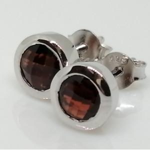Cercei delicati din argint cu surub VE015015-Granat