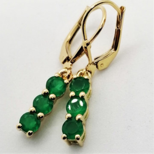 Cercei delicati- SERENA-argint placat cu aur- VE014969-onix verde