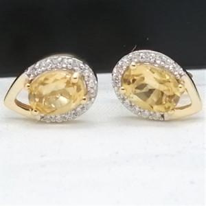 Cercei ELEONORE-argint placat cu aur - VE032670 citrin