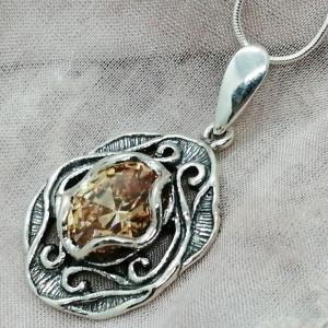 Colier argint champagne quartz N2891