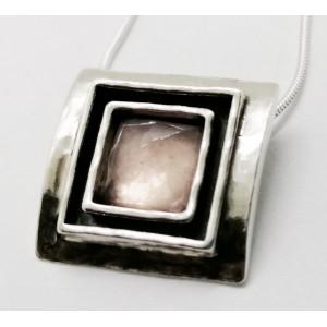 Colier argint N1844 -cuart roz