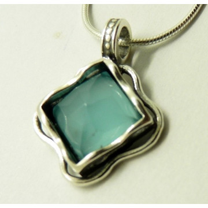 Colier argint N3470 blue ocean quartz