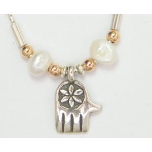 Colier argint perle -Hamsa N1907