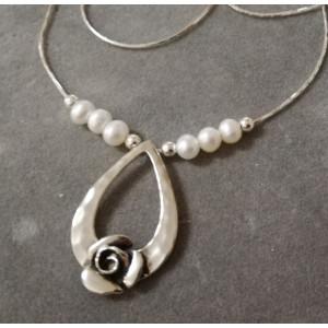 Colier argint trandafir N4194-1 -perla