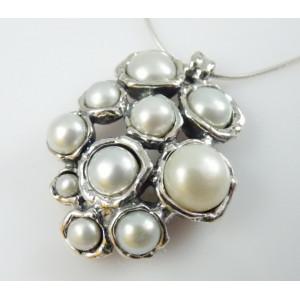 Colier din argint lucrat manual cu perle de cultura N3634