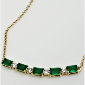 Colier Valerie -argint placat si aur - onix verde VNCK033161