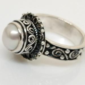 Inel argint antichizat RG4 perla