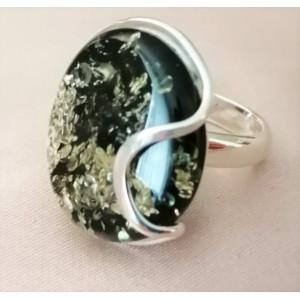 Inel argint chihlimbar masiv R3099