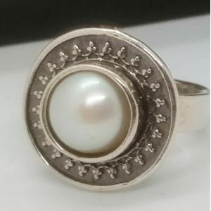Inel argint cu perla- vintage style R542