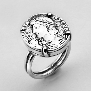 Inel argint - inspiratie monede vechi-R557-